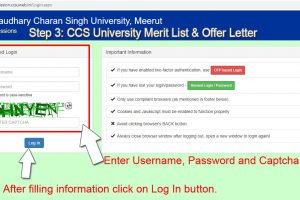 CCS University Merit List 2020-21 and Offer letter print or download